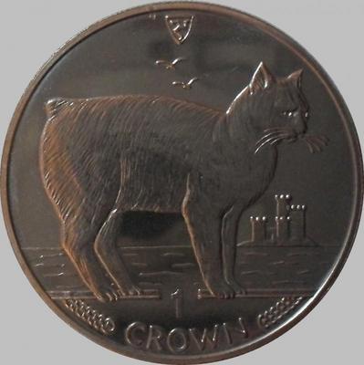 1 крона 1988 остров Мэн. Мэнская бесхвостая кошка.