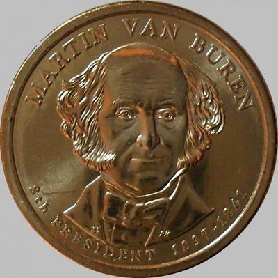 1 доллар 2008 D США. 8-й президент США Мартин ван Бюрен.