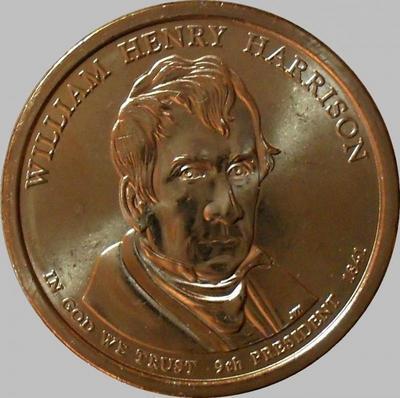 1 доллар 2009 D США. 9-й президент США Уильям Генри Гаррисон.