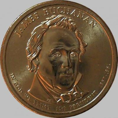 1 доллар 2010 P США. 15-й президент США Джеймс Бьюкенен.