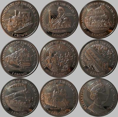 Набор монет 1998 остров Мэн. Паровозы.