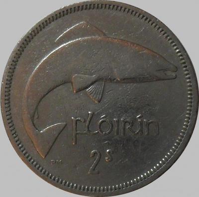 1 флорин (2 шиллинга) 1966 Ирландия. Лосось.