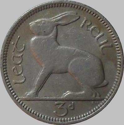 3 пенса 1953 Ирландия. Заяц.