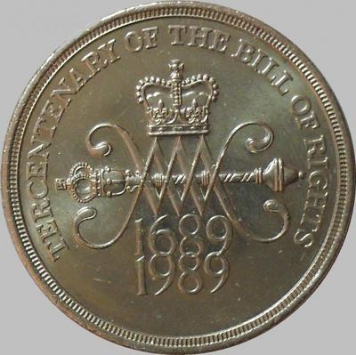 2 фунта 1989 Великобритания. 300 лет Биллю о правах.