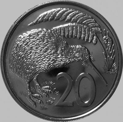 20 центов 1982 Новая Зеландия. Птица Киви. VF(из обращения)