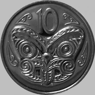 10 центов 1982 Новая Зеландия. Маска Маори.