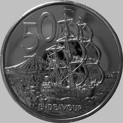50 центов 1982 Новая Зеландия. Парусный корабль Индевор.
