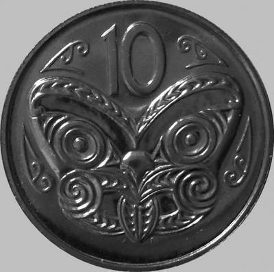 10 центов 1981 Новая Зеландия. Маска Маори.