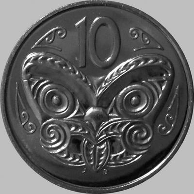 10 центов 1988 Новая Зеландия. Маска Маори.