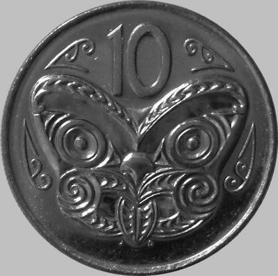 10 центов 1978 Новая Зеландия. Маска Маори.