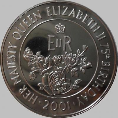 50 пенсов 2001 остров Вознесения. 75-летие Елизаветы II.