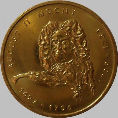 2 злотых 2002 Польша. Август II Сильный.