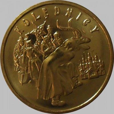 2 злотых 2001 Польша. Колядование.