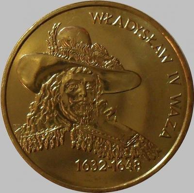 2 злотых 1999 Польша. Владислав IV Ваза.