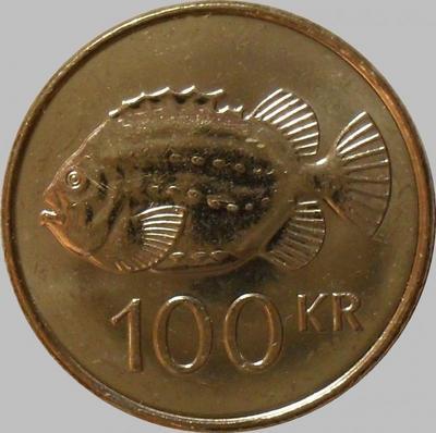 100 крон 2007 Исландия. Рыба.