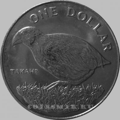 1 доллар 1982 Новая Зеландия. Птица такахе (бескрылая султанка).