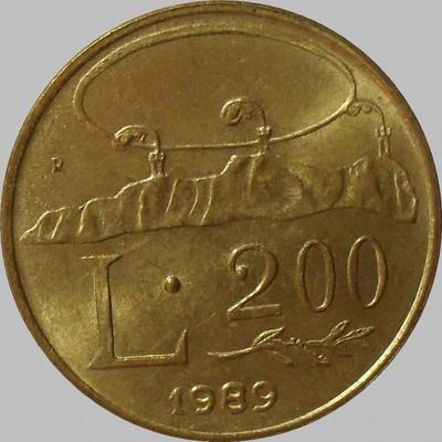 200 лир 1989 Сан-Марино.
