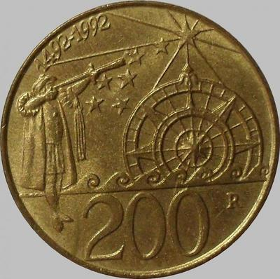 200 лир 1992 Сан-Марино. Колумб.