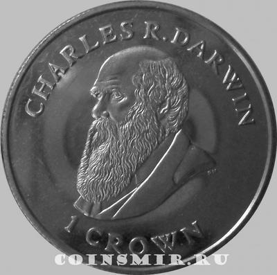 1 крона 2009 Фолклендские острова. Чарльз Дарвин.