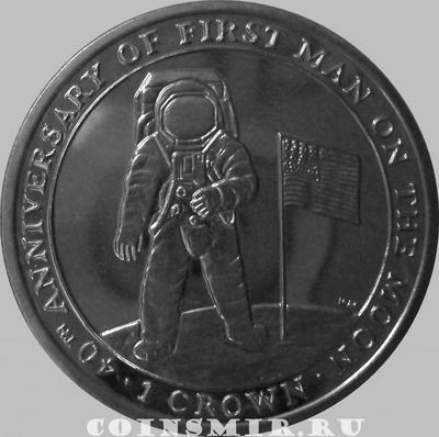 1 крона 2009 остров Мэн. Первый человек на Луне.