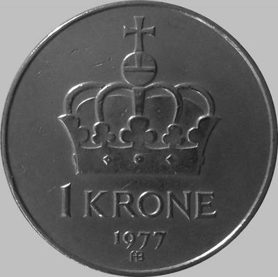 1 крона 1977 Норвегия.