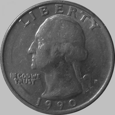 25 центов 1990 Р США.