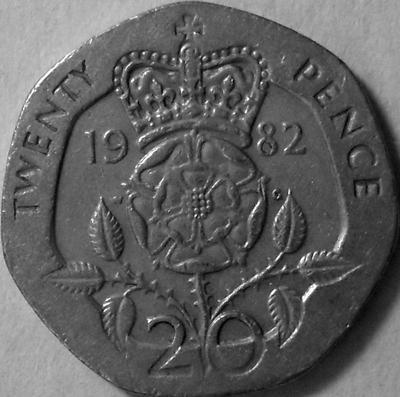 20 пенсов 1982 Великобритания. (в наличии 1983 год)