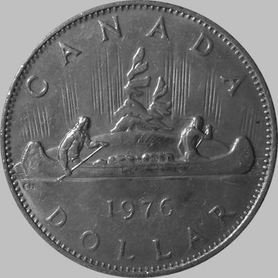 1 доллар 1976 Канада. Индейцы в каноэ.