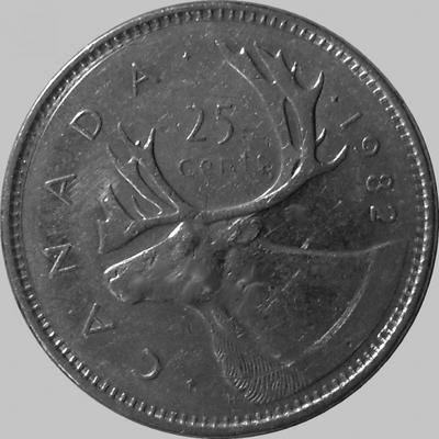 25 центов 1982 Канада. Северный олень.