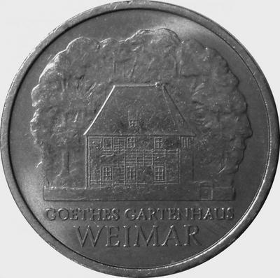 5 марок 1982 ГДР. Дом Гёте в Веймаре.