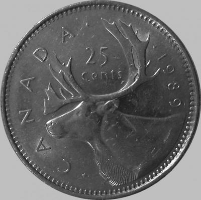 25 центов 1989 Канада. Северный олень.