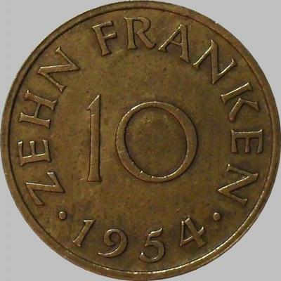 10 франков 1954 Саарленд.