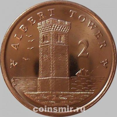 2 пенса 2008 Остров Мэн.Башня Альберта.