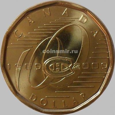 1 доллар 2009 Канада. 100 лет Хоккейному клубу «Монреаль Канадиенс».