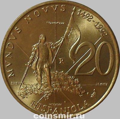 20 лир 1992 Сан-Марино. Открытие Гаити.
