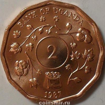 2 шиллинга 1987 Уганда.