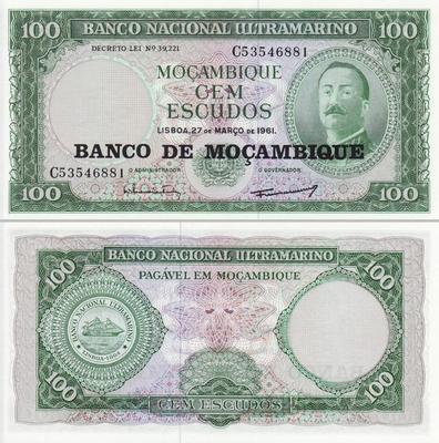 100 эскудо 1976 на 100 эскудо 1961 Мозамбик.