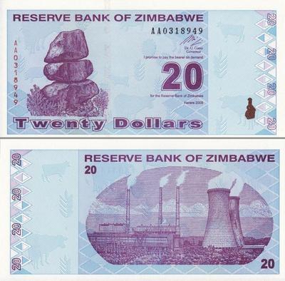 20 долларов 2009 Зимбабве. Серия АА.