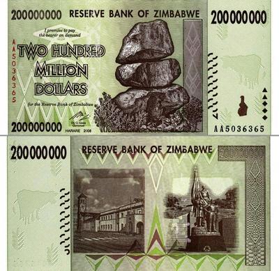 200 миллионов долларов 2008 Зимбабве.