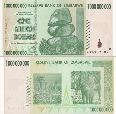 1 миллиард долларов 2008 Зимбабве.