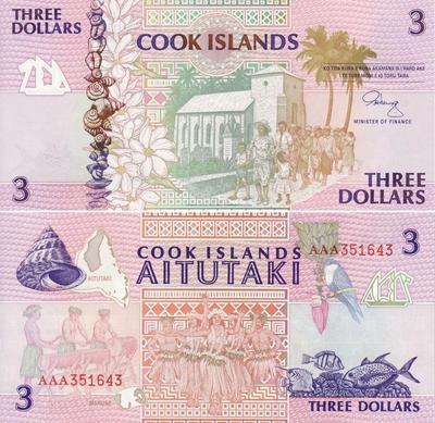 3 доллара 1992 острова Кука.