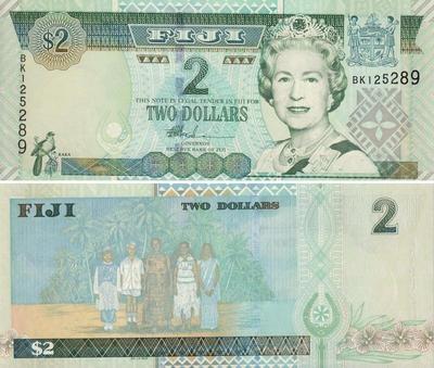 2 доллара 2002 Фиджи.
