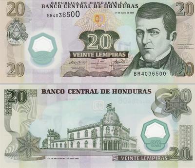 20 лемпиров 2008 Гондурас.