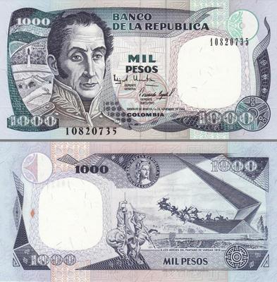1000 песо 1993 Колумбия.(в наличии 1995)