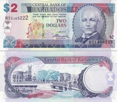 2 доллара 2007 Барбадос.