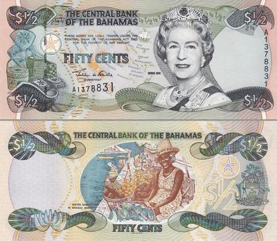 1/2 доллара 2001 Багамские острова.