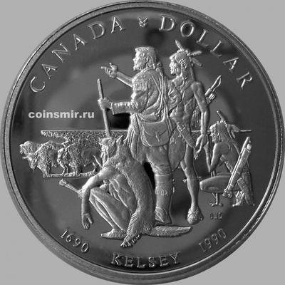 1 доллар 1990 Канада. Генри Келси. Пруф.
