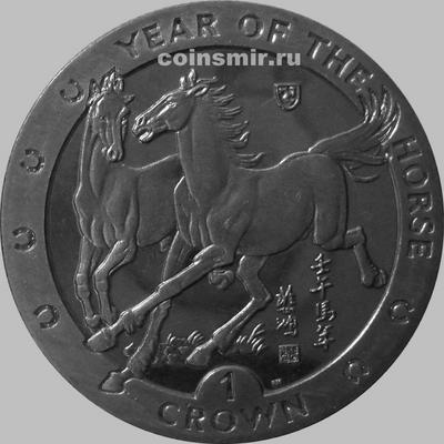 1 крона 2002 остров Мэн. Год лошади.