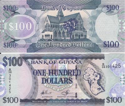 100 долларов 2002-2012 Гайана.