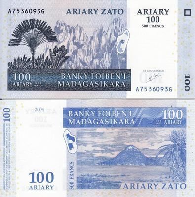 500 франков (100 ариари) 2004 Мадагаскар.